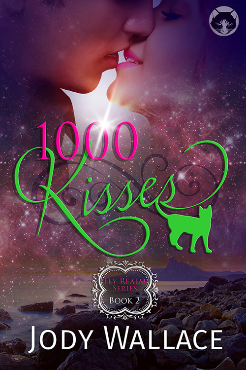 the cover for 1000 kisses by jody wallace is two people about to smooch and a green cat is part of the fancy title font because cats are awesome