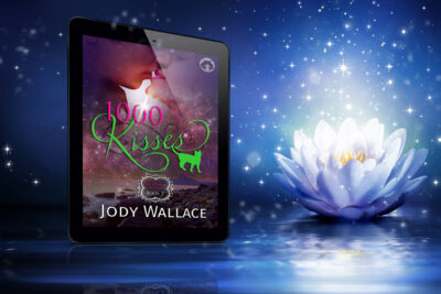 A very pretty graphic for the book one thousand kisses, a paranormal romance by Jody Wallace, which is the book itself inside what appears to be an ebook reader next to a beautifully blossoming and magical looking white flower