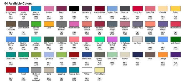 colors available for the grompy and chonky shirt