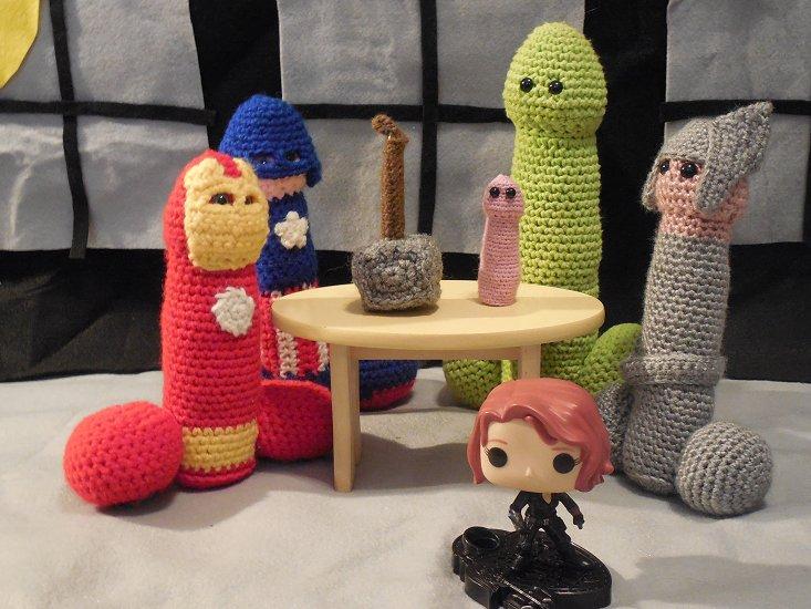 5 crochet peens that resemble the Avengers and a Black Widow Pop Figure