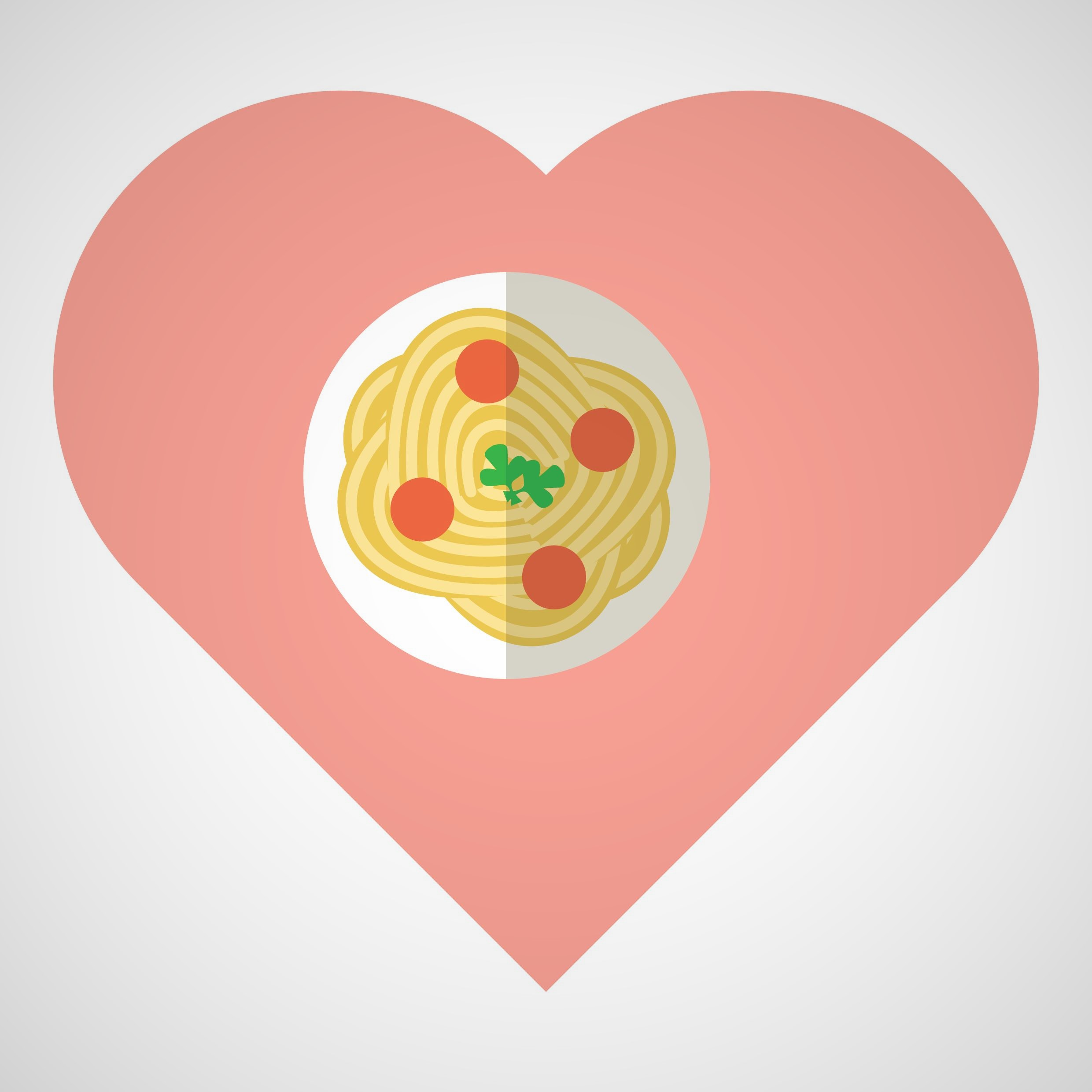 Spaghetti and meatballs in a heart shape to represent romance novel tropes