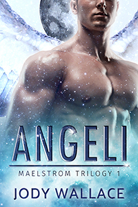 the cover of angeli by jody wallace is a bare chested man and an icy background