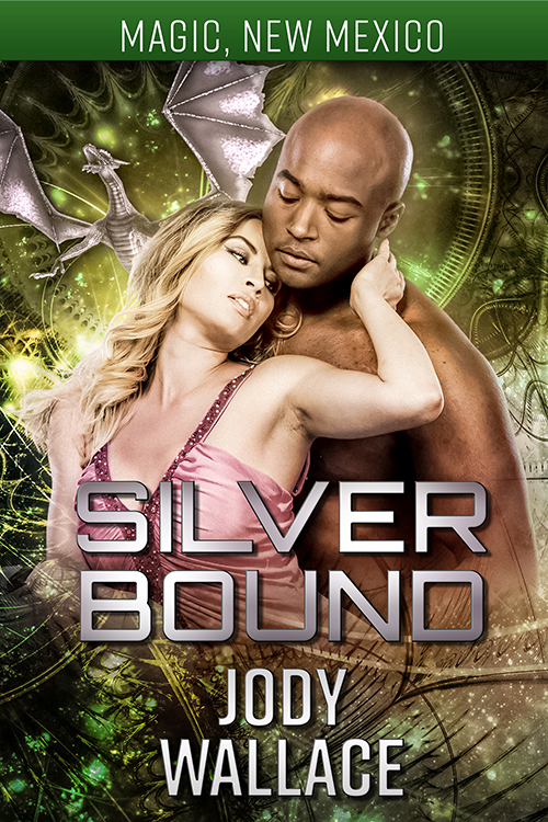the cover for silver bound by jody wallace is pretty nice, IR couple and mostly green and silver background
