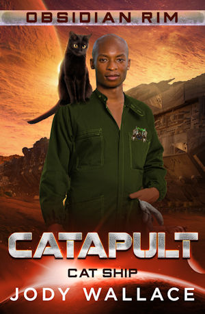 catapult by jody wallace is a man in coveralls with a black cat on his shoulder and a space background