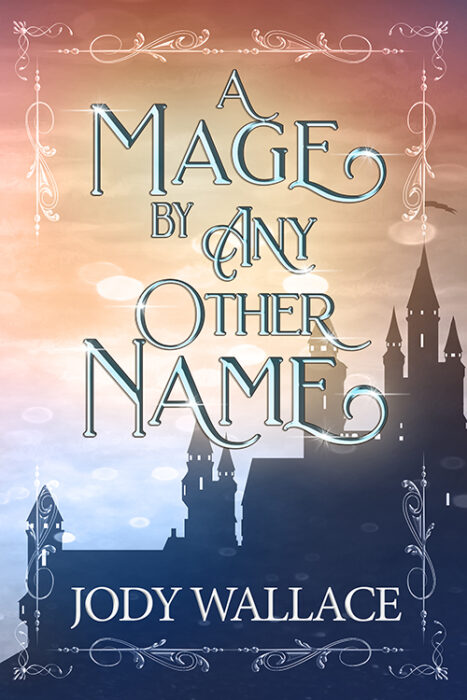 a castle silhouette set against a blue and gold sky that is the book cover with fancy border around it
