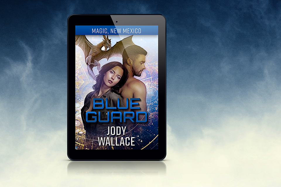 The cover for blue guard by jody wallace on a fancy blended blue background