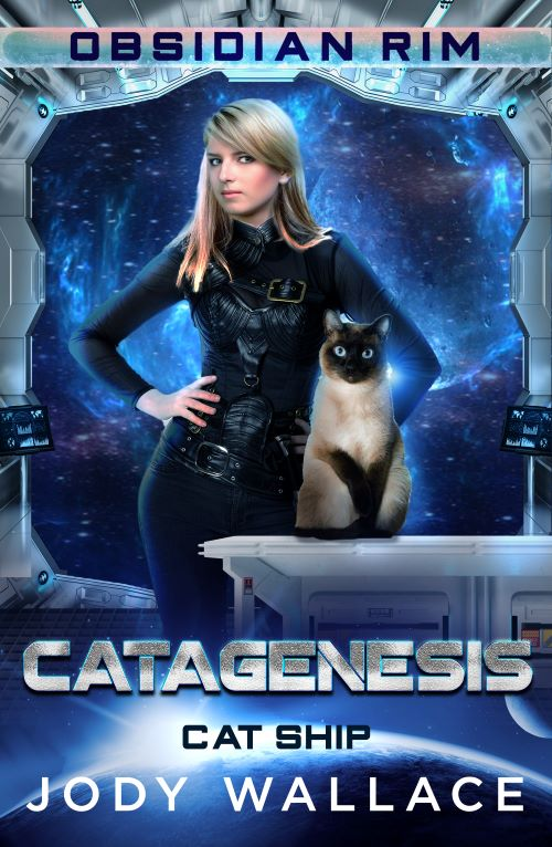Cover of Catagenesis by Jody Wallace is a blond Caucasian lady in black clothes and a no nonsense attitude and a siamese cat, both on a a space ship