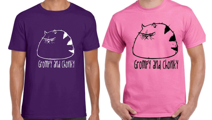 two t-shirts with a fat mad cat drawn on them and the words 'grompy and chonky'