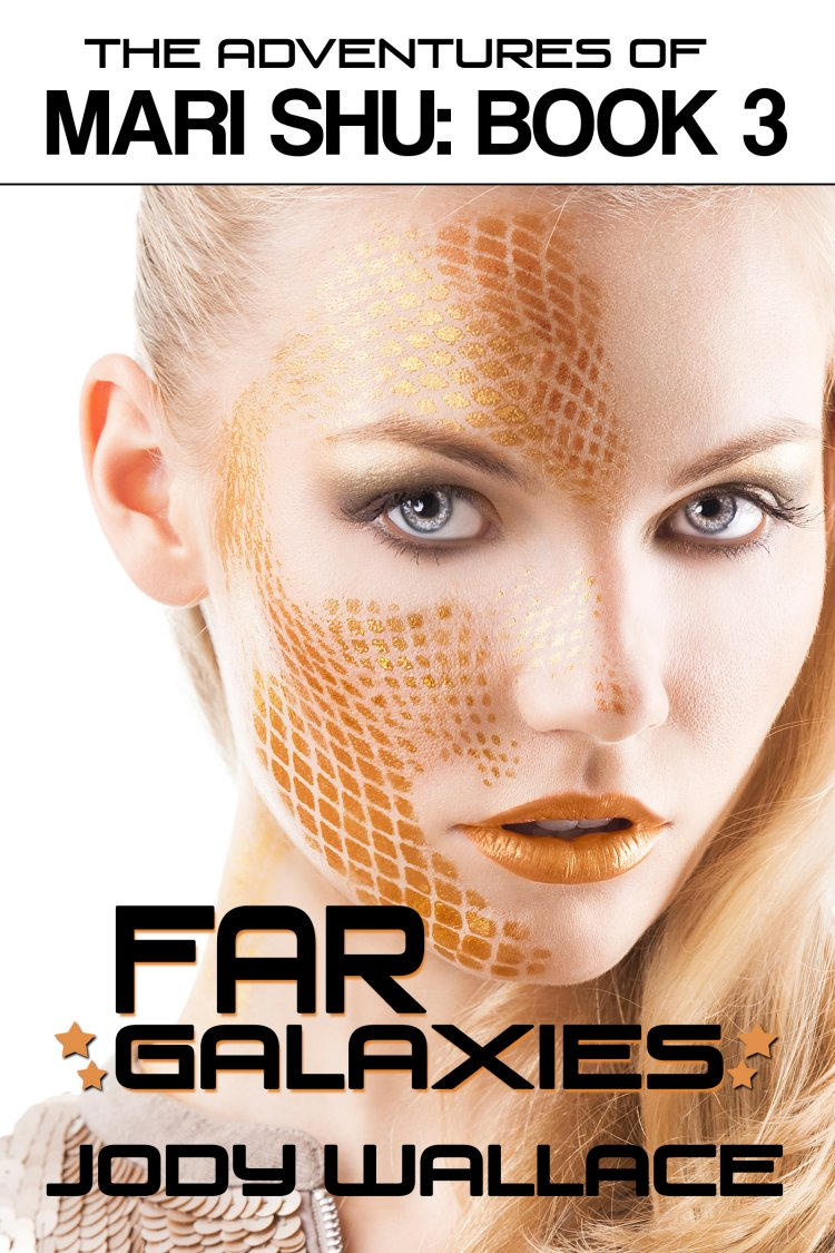 the cover for far galaxies by jody wallace which is a science fiction romance spoof and completely ridiculous