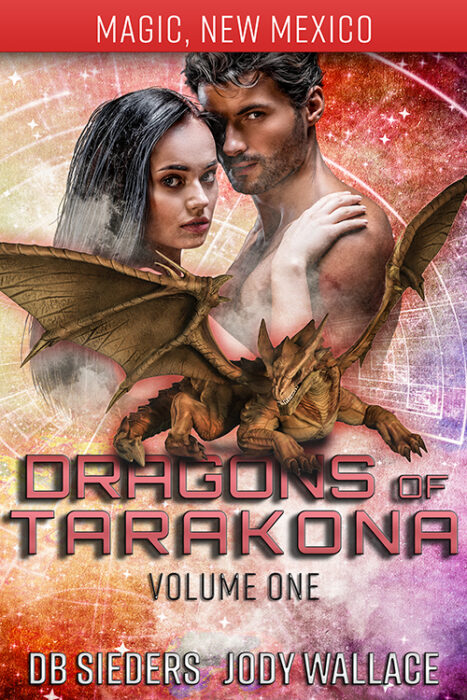 The box cover for Tarakona 1-4 is chock full of science fiction and fantasy romance, dragon shifters and wizards!