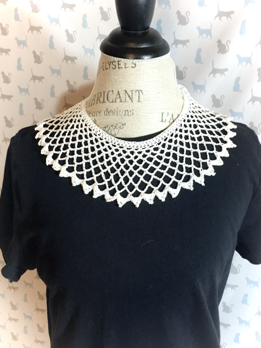 a white crochet lace collar like ruth bader ginsburg favored