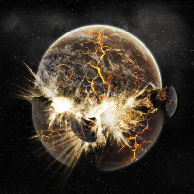 slightly computerized photo of an exploding planet