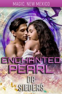 the cover for enchanted pearl by db sieders is a loving loving both with dark hair and purples and pinks in the background